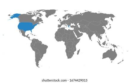 Estados Unidos, Grecia países marcados en el mapa mundial. Fondo gris. Perfecto para conceptos empresariales, fondos, fondo, gráfico, etiqueta, pegatina, banner y fondos de pantalla.