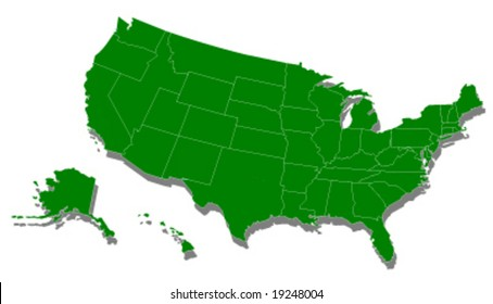 usa green ecology map vector illustration
