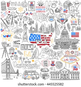 USA hand drawn outline vector set. United States Of America popular symbols and landmarks - fast food, jazz, skyscrapers, landmarks, map silhouette, flag, eagle, presidents, dollar, sport, cinema.