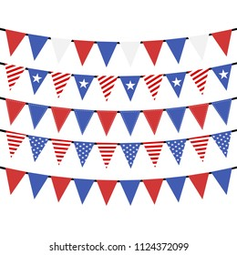 USA hanging bunting flags on white background, Vector
