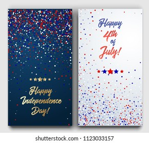 USA Happy Independence Day banners set. 4th July festive greeting cards with scattered confetti in traditional American colors - red, white, blue.
