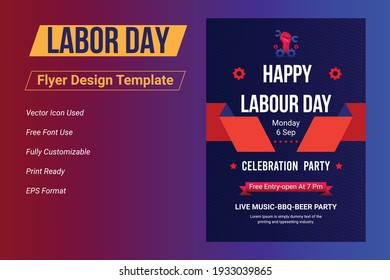 USA Happy Labor Day flyer template, Labor Day banner set,  Labor Day United States of America, Vector illustration.