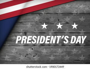 USA Happy Presidents Day celebrate banner wooden background. United States national holiday vector illustration
