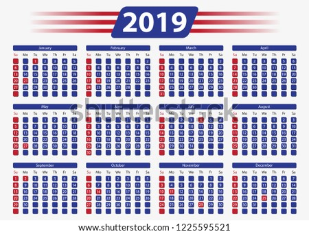Usa Horizontal Calendar 2019 5 X 7 Inches Stock Vector Royalty Free