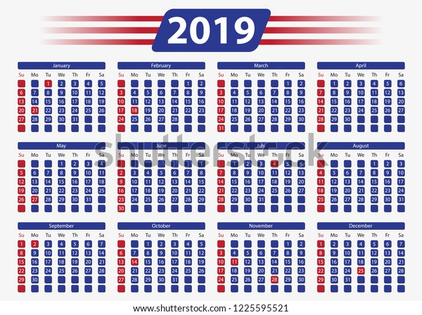 Working Days February Calendar 2019 Usa Horizontal Calendar 2019 5x7 Inches Stock Vector (Royalty Free