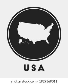 USA icon. Round logo with country map and title. Stylish USA badge with map. Vector illustration.