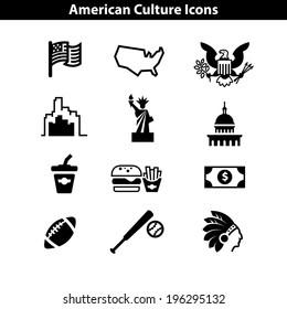 USA icon set. American landmarks