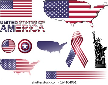 USA Icons. Set of vector graphic icons and symbols representing the United States of America.