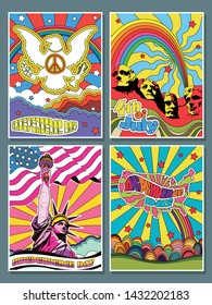USA Independence Day 4th of July Posters Set Psychedelic Art Hippie Style