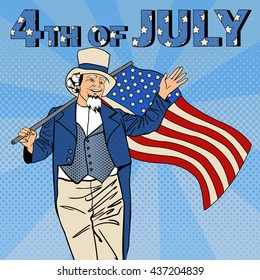 USA Independence Day. 4th of July. Senior Man with American Flag. Pop Art. Vector illustration