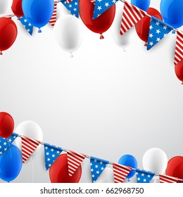 USA Independence Day background with flags and balloons. Vector paper illustration.
