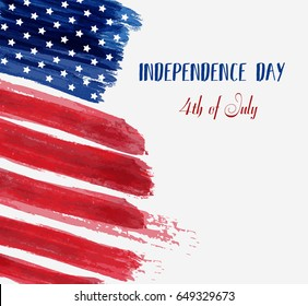 USA Independence day background. Happy 4th of July. Vector abstract grunge brushed flag with text. Template for banner, greeting card, invitation, poster, flyer, etc.