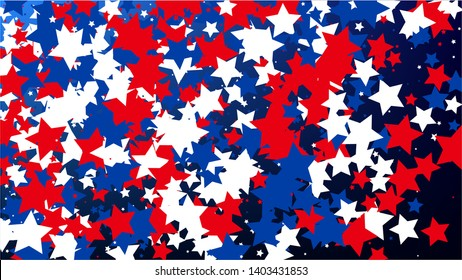USA Independence Day. Colours of American Flag. Red, Blue and White Stars on Blue Gradient Background. Abstract Background with Many Random Falling Stars Confetti on Blue Background.