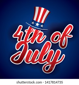 USA independence day fourth of july card with celebration symbols on blue red and white colors vector editable illustration image