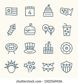 USA Independence Day line vector icon set