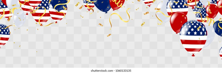 USA Independence day poster with air balloons and with a garland from American flags. American Memorial Day celebration poster, vector illustration.