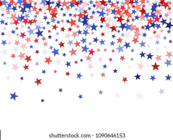 USA Independence Day stars flying background.  Holiday confetti in US flag colors for Independence Day. Red blue stars American patriotic backdrop. July 4 cool stardust.