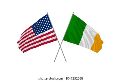 USA and Ireland state crossed flags waving real clothes effect as a sign of cooperation or diplomacy or unity. Vector illustration.