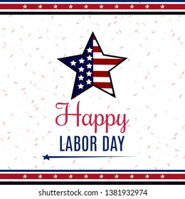 USA Labor Day greeting card with United States national flag colors. Vector illustration.