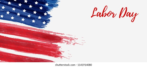 USA Labor day holiday background. Grunge abstract flag. Template for holiday banner.