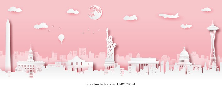 USA landmark greeting card,vector paper art and digital craft style.