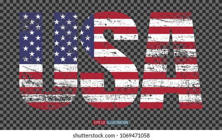 USA lettering. Grunge American flag.  Transparent background. Template for your design works. Vector illustration.
