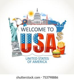 USA  lettering sights symbols culture landmark illustration