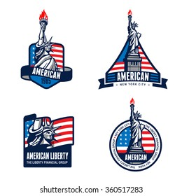 USA Liberty Statue Logo Badge design vector templates. American 4th July. United States of America symbols of Freedom Justice Truth Equity Honor Patriotism Democracy Logotype. Independence day banners