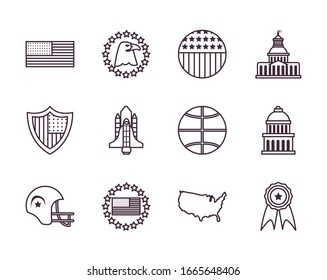 Usa line style icon set design, United states america independence day nation us country and national theme Vector illustration