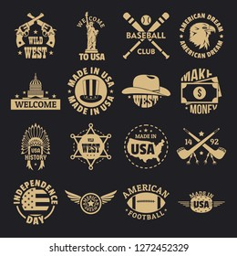 USA logo vintage icons set. Simple illustration of 16 USA logo vintage vector icons for web