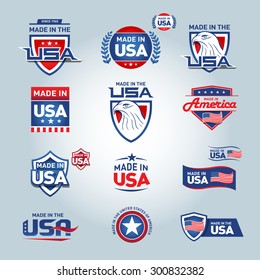 USA and made in USA icons. American made. Set of vector icons, stamps, seals, banners, labels, logos, badges. Vector illustration.