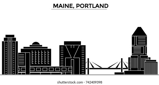 Usa, Maine, Portland architecture vector city skyline, travel cityscape with landmarks, buildings, isolated sights on background
