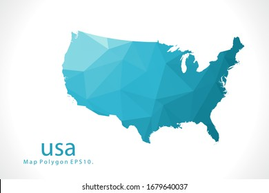 usa Map Abstract geometric rumpled triangular low poly style gradient graphic on white background