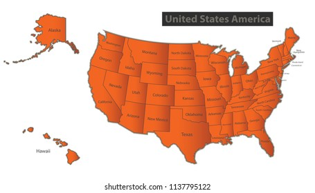 USA map with Alaska and Hawaii Orange separate states individual names vector