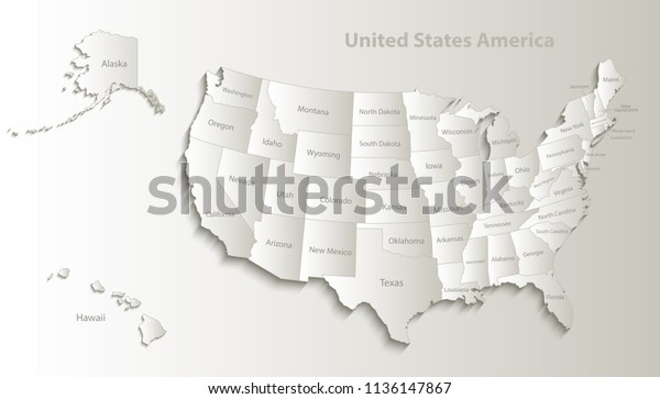 Usa Map Alaska Hawaii Map Separate Stock Vector (Royalty Free ...