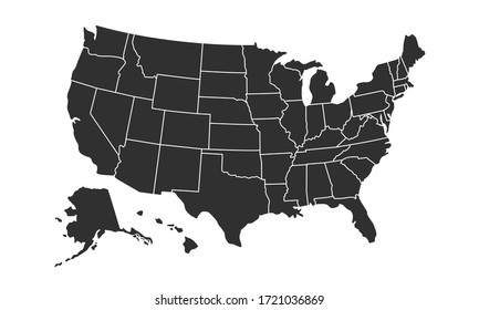 USA map background with states. United States of America map isolated on white background. Vector illustration