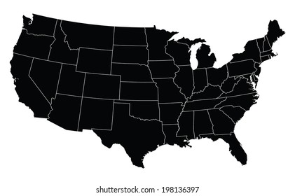 USA map in black