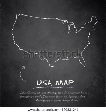 Usa Map Blackboard Chalkboard Vector Stock Vector Royalty Free