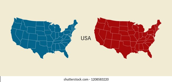 USA map in blue and red color. Modern Map. USA with federal states. Eps10