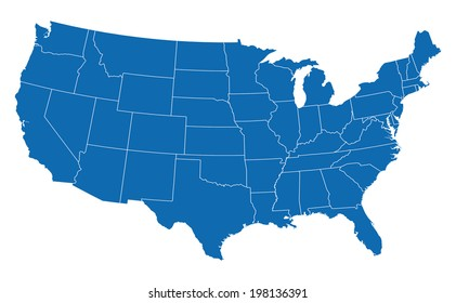 USA map in blue w/ states