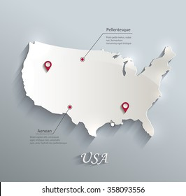 USA map blue white card paper 3D vector