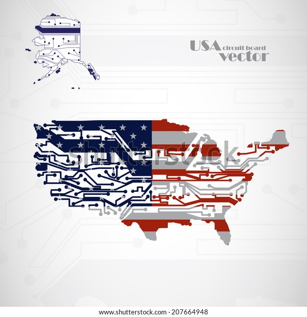 USA Map, circuit board vector background, technology illustration eps10