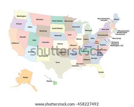 USA MAP COLOR NAME COUNTRIESUNITED STATES Stock Vector (Royalty Free ...