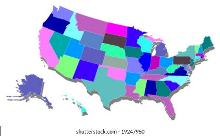 usa map in color - vector illustration