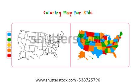 Coloring Usa Map.Usa Map Coloring Map Kids Stock Vector Royalty Free 538725790