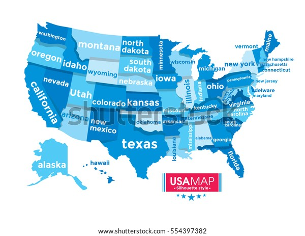 Complete Map Of Usa.Usa Map Complete Name State Blue Stock Vector Royalty Free