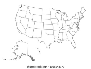 usa map with country borders, thin black outline on white background. High detailed vector map with counties/regions/states - usa. contour, shape, outline, on white.