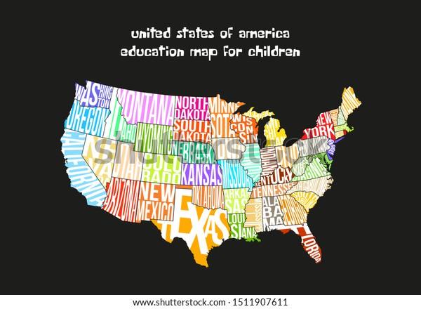 Usa Map Design Children Education Materials Stock Vector ...
