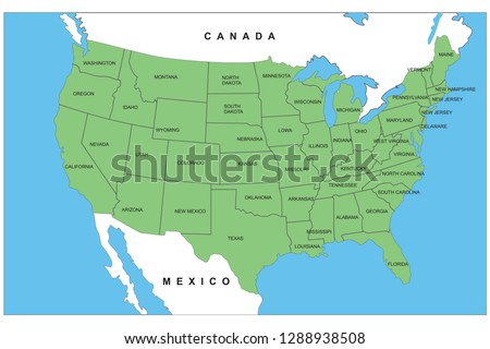 USA Map Detailed State Names Stock Vector (Royalty Free) 1288938508 ...