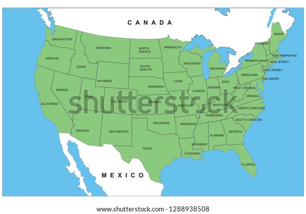 Usa Map Detailed State Names Stock Vector (Royalty Free ...
